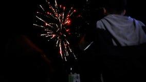 Leute passen schöne Feuerwerke auf dem Strand auf stock video footage