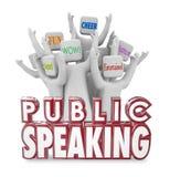 Leute-Publikums-zujubelnde unterhaltsame Spaß-Rede des öffentlichen Sprechens Lizenzfreies Stockfoto