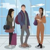 Leute reisen mit dem Flugzeug Flughafenpassagiere Vektor Lizenzfreie Stockfotos