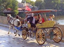 Leute reiten in Trainer durch Brücke in Edirne, die Türkei Lizenzfreies Stockfoto