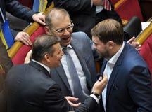 Leute ` s Abgeordnete von Ukraine Lyashko und von Pashinsky stockfoto