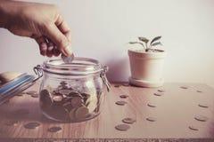 Leute ` s Hand, die Münzen setzt lizenzfreie stockfotos
