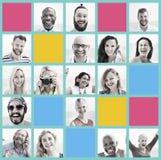 Leute-Satz des Gesichts-Verschiedenartigkeits-menschliches Gesichts-Konzeptes lizenzfreies stockfoto
