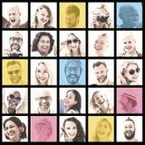 Leute-Satz des Gesichts-Verschiedenartigkeits-menschliches Gesichts-Konzeptes stockfotografie