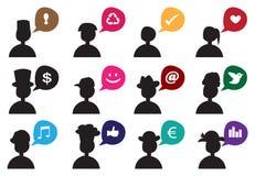 Leute-Schattenbild-Sprache-Blasen-Ikonen-Satz Stockbild