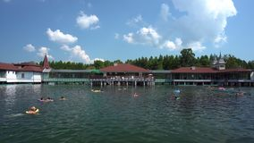 Leute schwimmen im Heviz See stock video footage