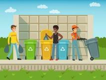 Leute setzten Abfall in Plastikpakete von verschiedenen Arten ein Vektor lizenzfreie abbildung