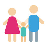 Leute silhouettieren glückliche Familienkarikatur- und -verhältnis-Charakterlebensstil-Vektorillustration Lizenzfreie Stockfotos