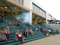 Leute sitzen auf Schritten, während sie das Tag der Erde-Konzertfestival aufpassen Stockfotos