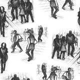 Leute skizzieren nahtloses Muster Lizenzfreies Stockfoto