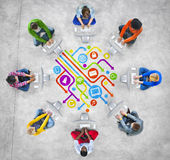 Leute-Social Networking-und Computernetzwerk-Konzepte lizenzfreie abbildung