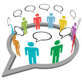 Leute sprechen Treffeninneresozialmediarede Lizenzfreie Stockbilder