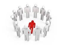 Leute stehen im Ring mit einer roten Lügenperson, 3d Stockfotos