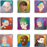 Leute stellen Ikonen-Avataras gegenüber Stockbild
