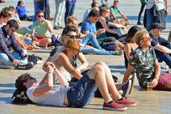 Leute an Ton-Festival 2014 Heinekens Primavera Lizenzfreies Stockfoto