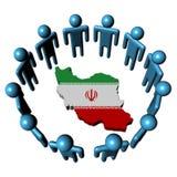 Leute um der Iran-Kartenmarkierungsfahne Stockbilder
