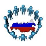 Leute um russische Kartenmarkierungsfahne Lizenzfreie Stockbilder