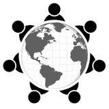 Leute um Welt lizenzfreie abbildung