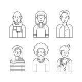 Leute umreißen den grauen eingestellten Ikonenvektor (Männer und Frauen) Minimalistic-Design Teil drei Lizenzfreies Stockbild