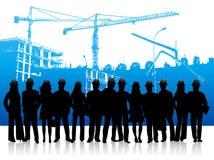 Leute und Baustelle stock abbildung