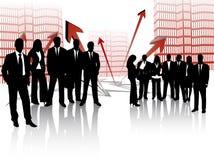 Leute und Gebäude Lizenzfreies Stockfoto