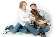Leute und Haustiere Stockfoto