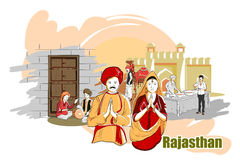 Leute und Kultur von Rajasthan, Indien lizenzfreie abbildung