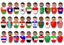 Leute und Markierungsfahnen von Asien Stockfotos