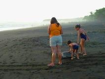 Leute und Meeresschildkröte auf dem Sand und dem suntet Stockfoto
