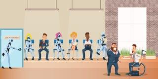 Leute-und Roboter-Reihe f?r Vorstellungsgespr?ch im B?ro stock abbildung
