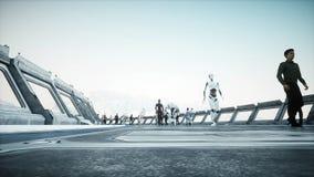 Leute und Roboter Sci FI-tonnel Futuristischer Verkehr Konzept von Zukunft Wiedergabe 3d lizenzfreie abbildung