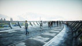 Leute und Roboter Sci FI-tonnel Futuristischer Verkehr Konzept von Zukunft Wiedergabe 3d stock abbildung