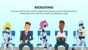 Leute und Roboter sitzen in der Reihe für Vorstellungsgespräch vektor abbildung