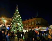 Leute- und Weihnachtsbaum am Markt von Riga wölben sich Quadrat Lizenzfreies Stockfoto