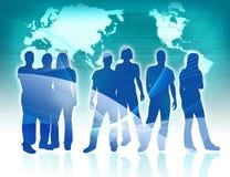 Leute- und Weltkarte Lizenzfreie Stockfotografie
