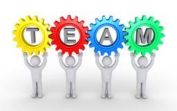 Leute und Zahnräder angeschlossen als Teamwork-Konzept Lizenzfreies Stockfoto