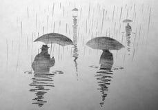 Leute unter einem Regenschirm im Wasser Lizenzfreies Stockfoto