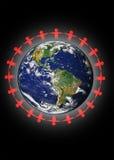 Leute vereinigt über dem Planeten Lizenzfreie Stockfotografie