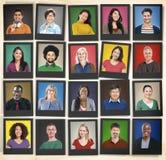 Leute-Verschiedenartigkeit stellt menschliches Gesichts-Porträt-Gemeinschaftskonzept gegenüber Lizenzfreie Stockfotografie
