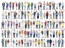 Leute-Verschiedenartigkeits-Erfolgs-Feier-Glück-Gemeinschaftskonzept Stockfoto