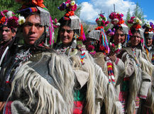 Leute von Dah u. von Hanu am Ladakh Festival Lizenzfreies Stockfoto
