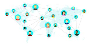 Leute von verschiedenen Nationalitäten, aus verschiedenen Ländern und Kontinenten, auf der Weltkarte Konzept des Sozialen Netzes  vektor abbildung