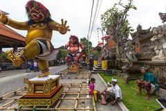 Leute während der Feier Nyepi - Balinese-Tag der Ruhe Lizenzfreie Stockbilder
