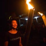 Leute während der Feier von Nyepi - Tag der Ruhe, des Fastens und der Meditation für den Balinese Stockbilder
