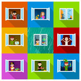 Leute in Windows Stockfotos