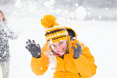 Leute-Winter-Lachen Stockfotos