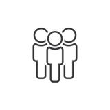 Leute zeichnen Ikone, die Teamentwurfs-Logoillustration, linear lizenzfreie abbildung