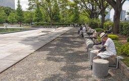Leuteanstrich im Park, Tokyo lizenzfreie stockbilder