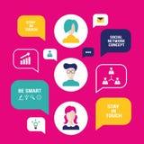Leuteavataras Konzept des Sozialen Netzes mit Spracheblasen und Geschäftsikonen für Netz Stockfoto
