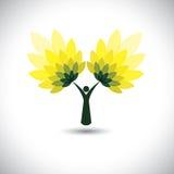 Leutebaumikone mit Grün verlässt - eco Konzeptvektor Stockfotos